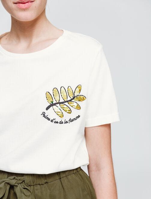 """T-Shirt sequin magique """" Palme d'or de la flemme"""" femme"""