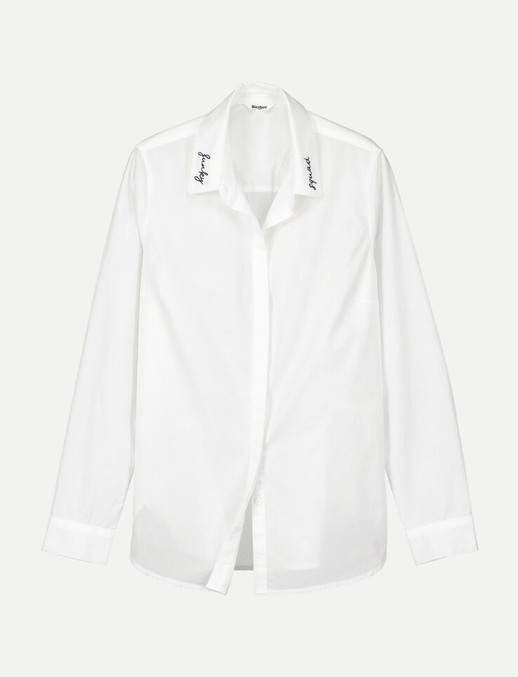 Chemise blanche brodée au col