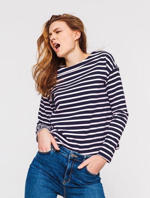 T-shirt marinière en coton lourd femme