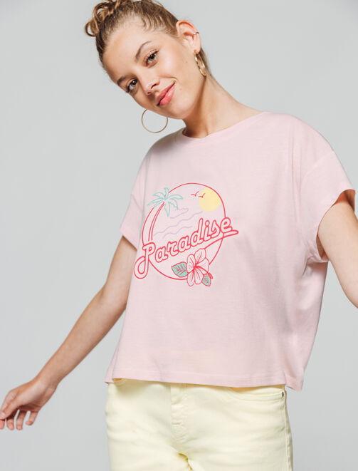"""T-shirt imprimé """" Paradise"""" femme"""