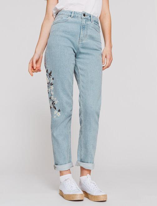 Jeans MOM taille haute brodé femme