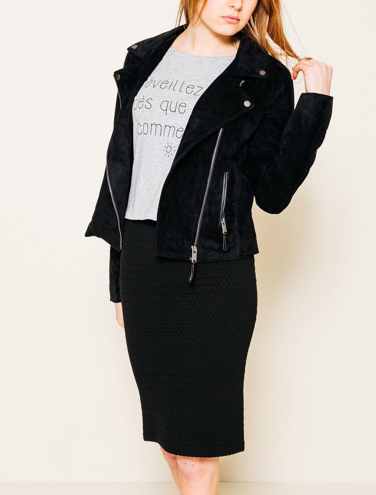 Veste suedine femme noir