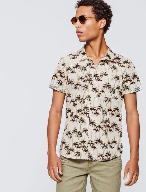 Chemise manches courtes imprimé palmiers homme