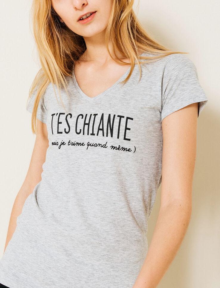 T-shirt Saint-Valentin message T'es chiante femme