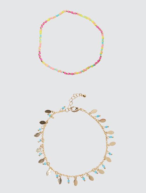 Lot de 2 Bracelets de Chevilles femme