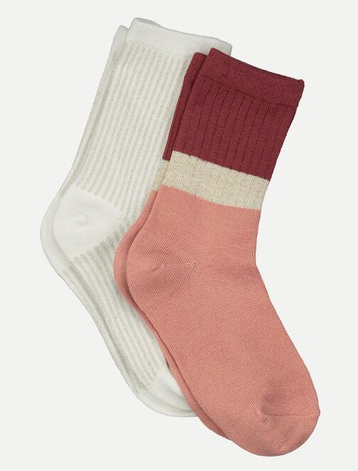 Lot de 2 chaussettes colorblock et rayure femme