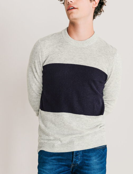 Pull col rond color-block homme