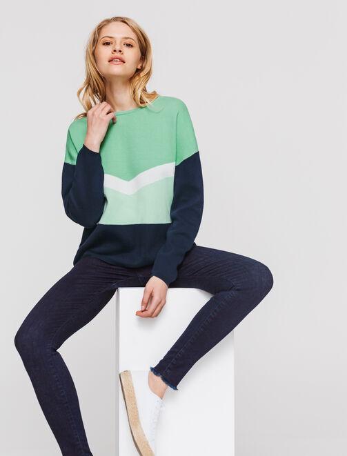 Pull colorblock marine vert femme