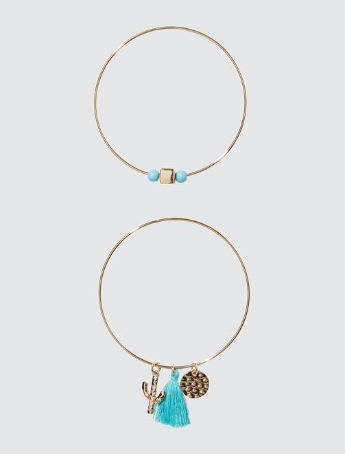 Bracelets rigides avec pompons femme