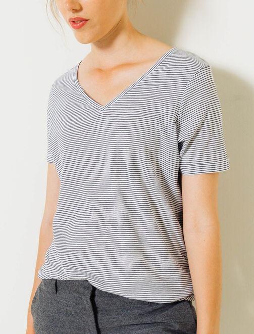 T-shirt rayé col V femme