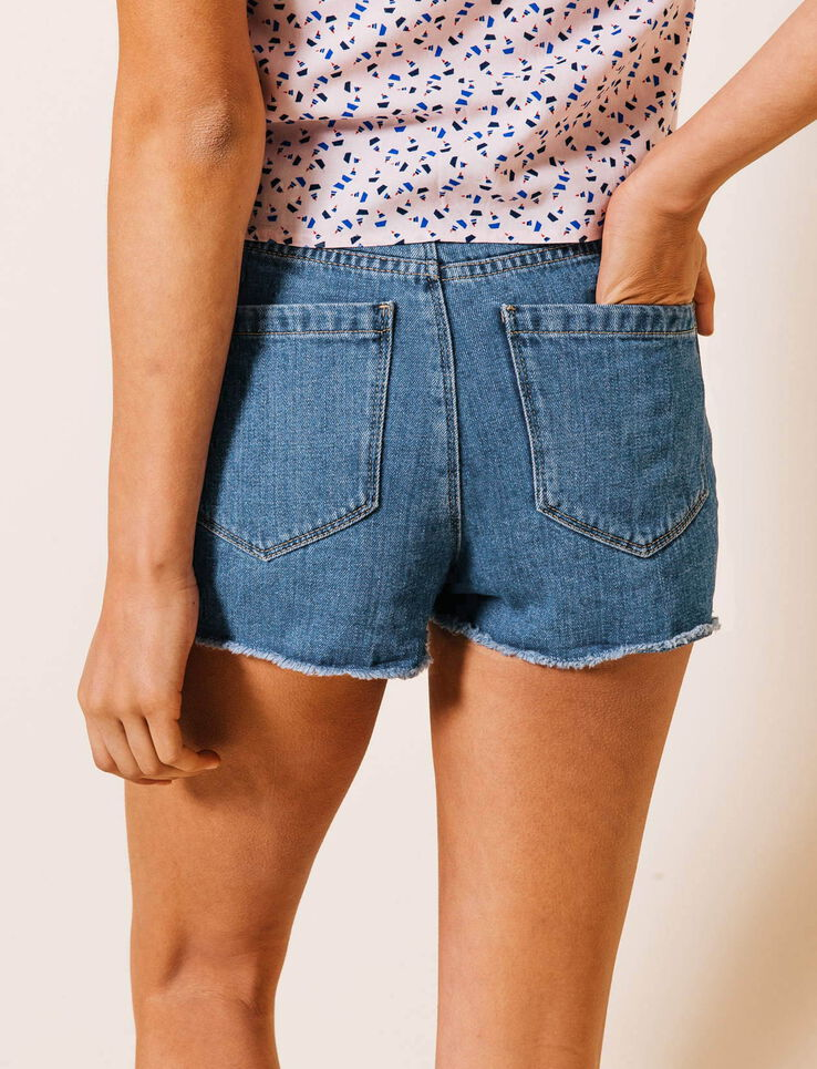 short jean taille haute frang femme stone bizzbee. Black Bedroom Furniture Sets. Home Design Ideas