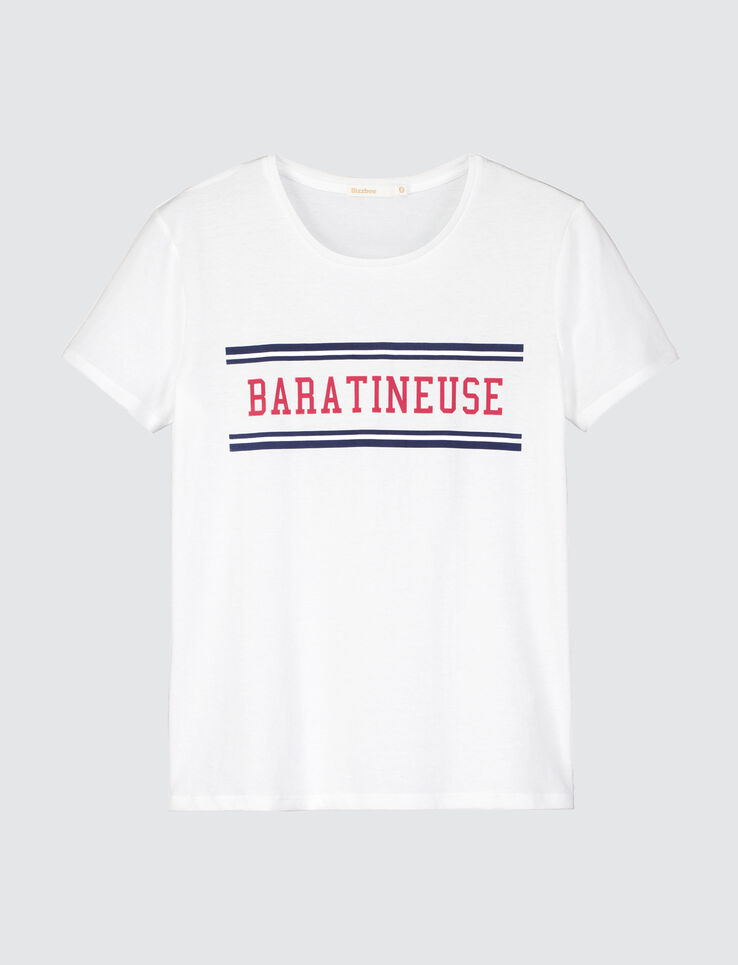 t shirt message baratineuse femme blanc casse bizzbee. Black Bedroom Furniture Sets. Home Design Ideas