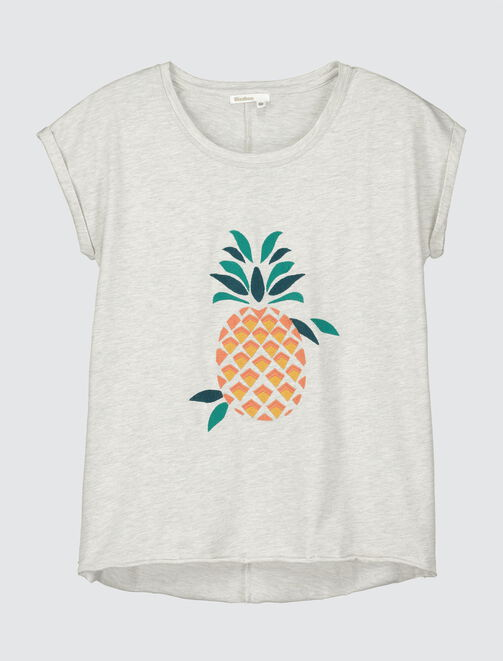T-shirt broderie ananas femme