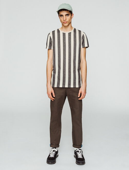 T-shirt jacquard bandes verticales homme