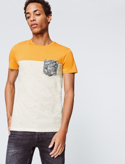 T-shirt color block poche a motif feuille homme