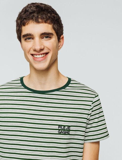 """T-shirt rayé bicolore message """"Pile je gagne"""" homme"""
