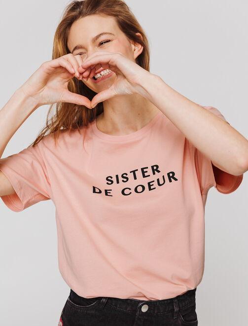 """T-shirt message """"SISTER DE COEUR""""  femme"""