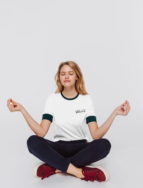"""T-shirt col rond à message """" RELAX"""" femme"""