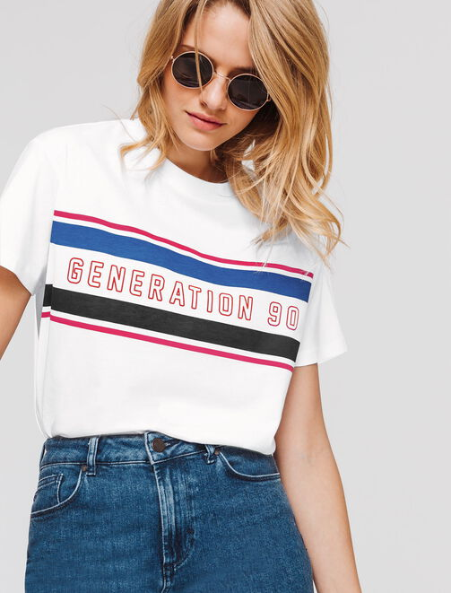 """T-shirt message """"Génération 90"""" femme"""
