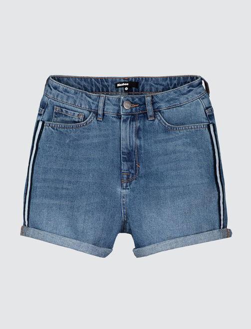 Short en jean bandes coté femme