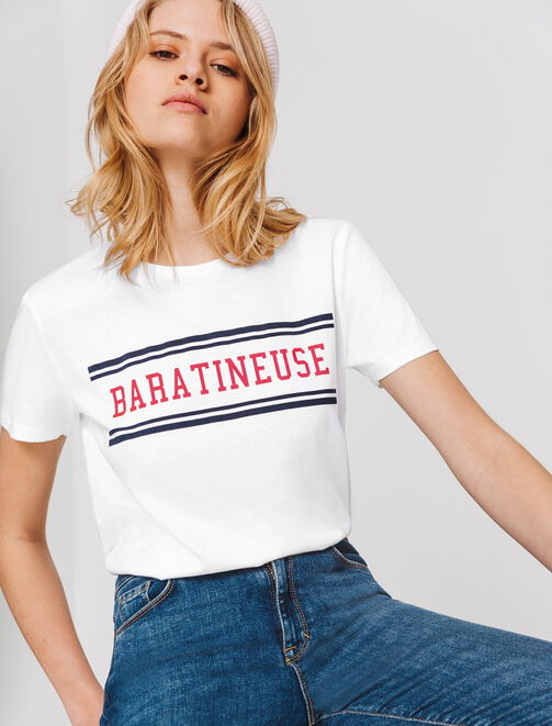"""T-shirt à message """"BARATINEUSE"""" femme"""