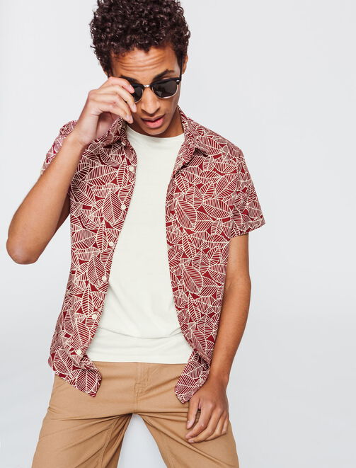 Chemise manches courtes feuillage homme