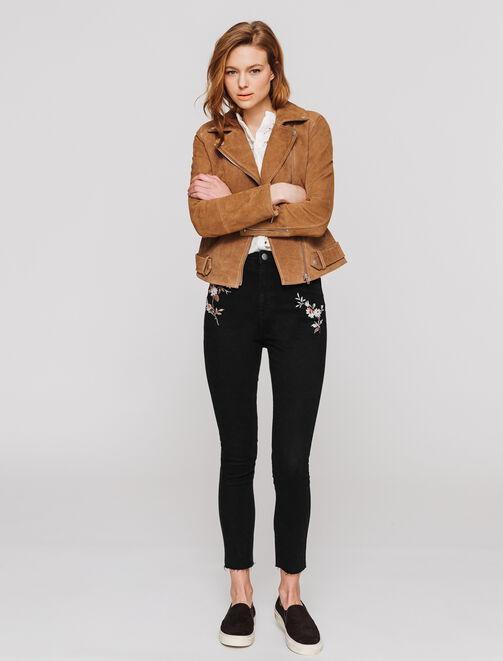 Jeans Skinny brodé femme