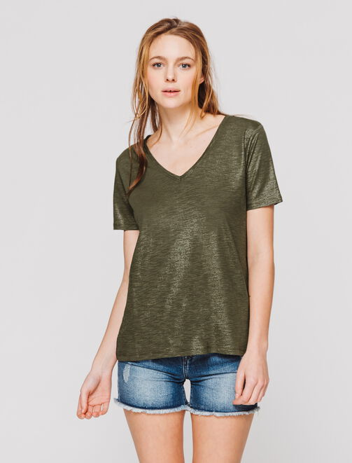 T-shirt col V brillant femme