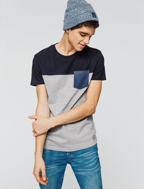 T-shirt color-block poche poitrine homme