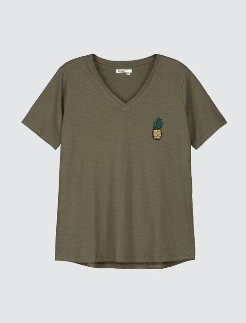 T-shirt broderie perles ananas femme