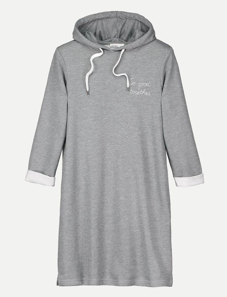 robe sweat capuche et broderie femme gris chin moyen bizzbee. Black Bedroom Furniture Sets. Home Design Ideas