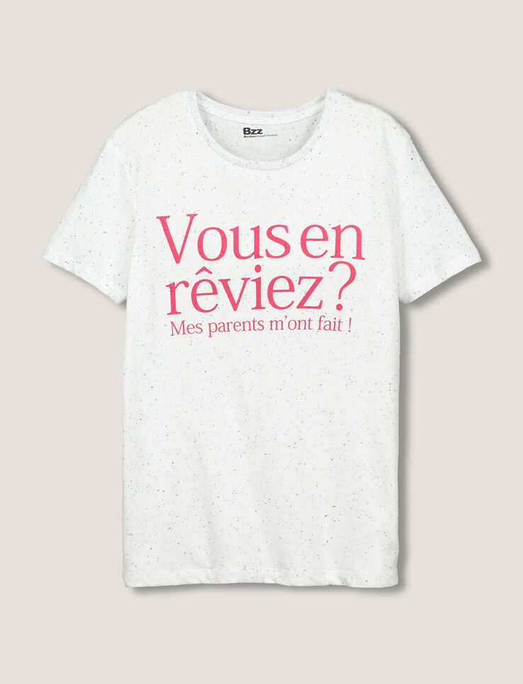 T.Shirt typographie humour homme Blanc