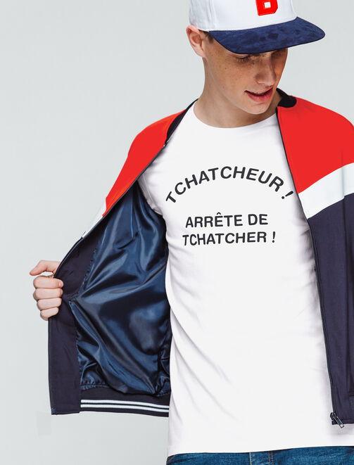 """T-shirt message """"Tchatcheur"""" homme"""
