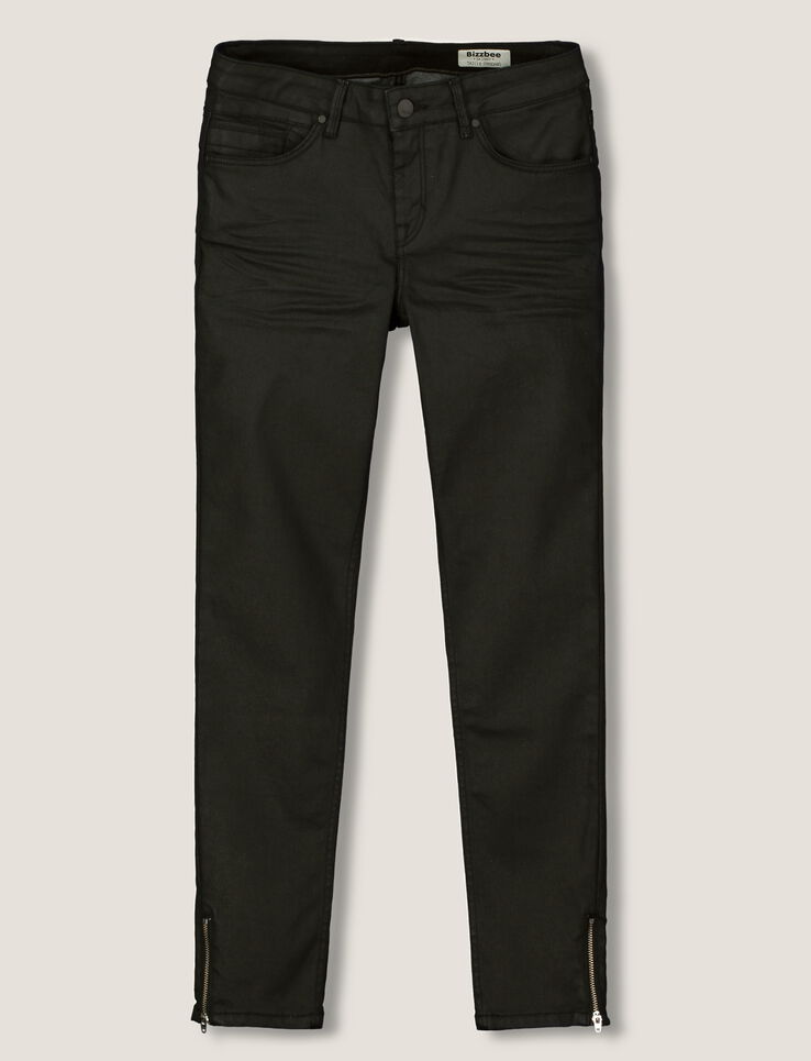 pantalon skinny enduit 7 8 femme noir bizzbee. Black Bedroom Furniture Sets. Home Design Ideas