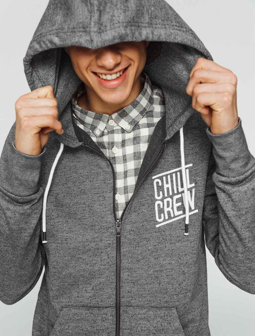 "Sweat zippé message ""Chill Crew"" homme"