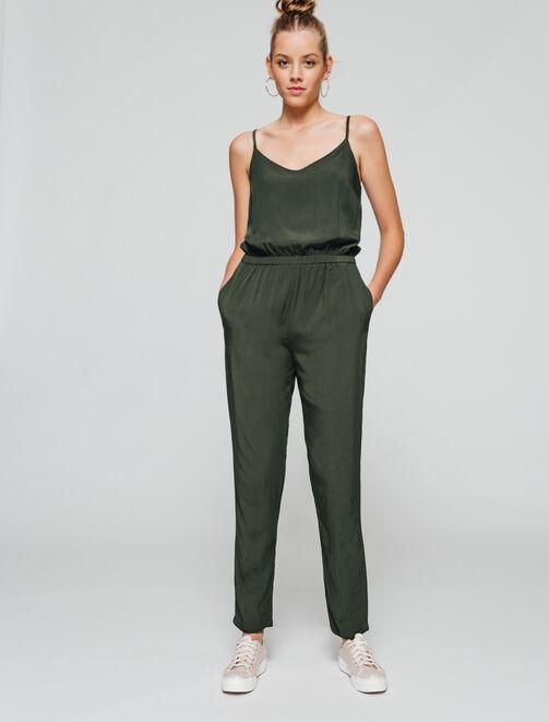 Combi-pantalon fluide uni  femme