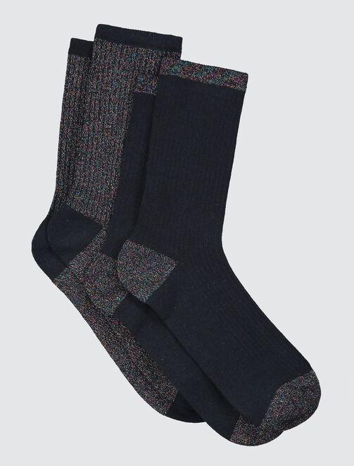 Chaussettes Noires Lurex femme