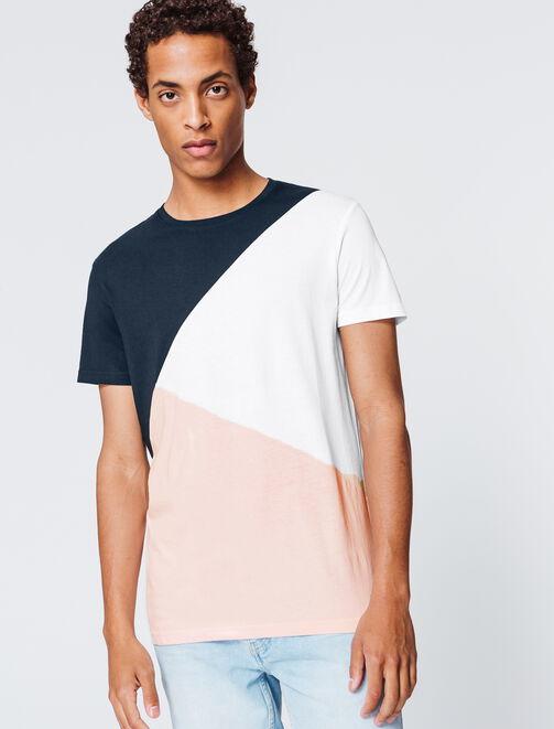T-shirt colorblock assymétrique homme