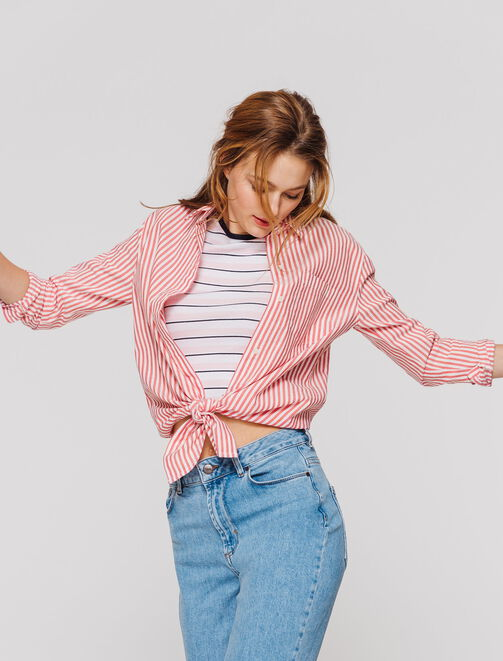 Chemise rayée nouée femme