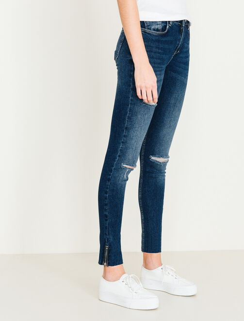 Jeans skinny taille haute zip femme