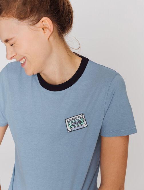 T-shirt patch cassette vintage  femme
