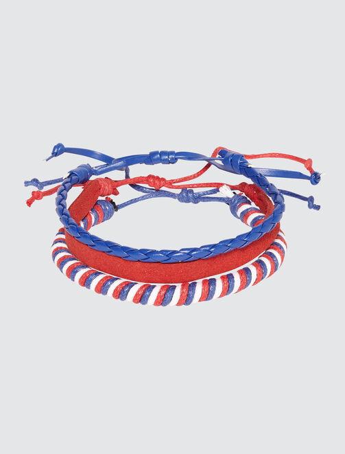 Set de bracelets tricolore homme