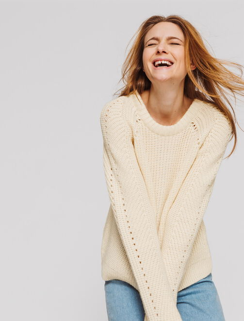 Pull col rond point fantaisie  femme