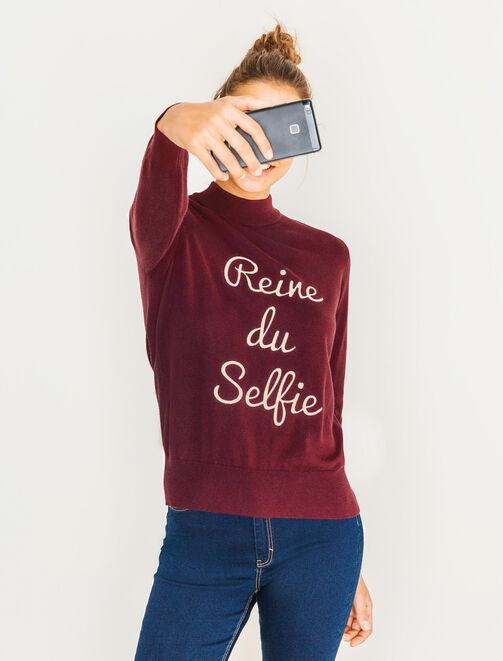 "Pull col montant message ""Reine du selfie"" femme"
