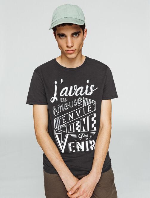 T-shirt imprimé à message humour homme