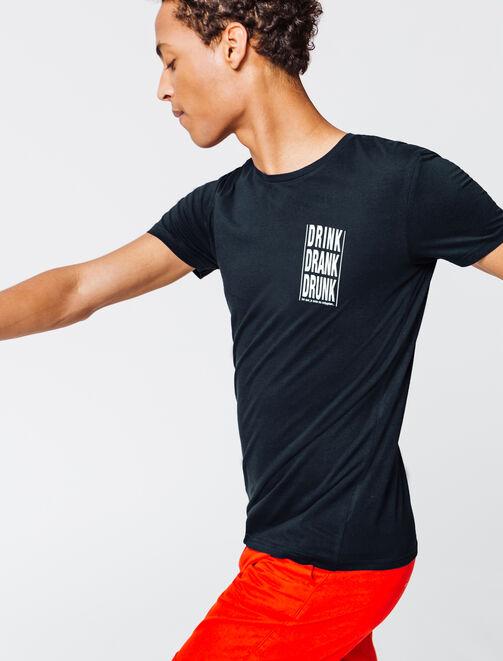 """T-shirt message poitrine """"DRINK DRANK DRUNK"""" homme"""