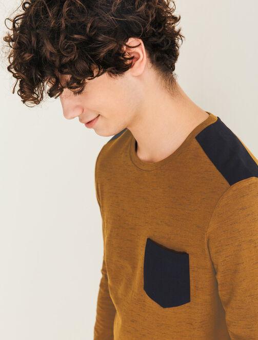 T-shirt matière fantaisie et patch épaules homme
