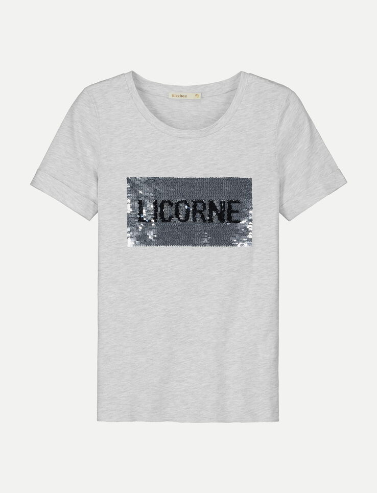 tee shirt sequins licorne sir ne femme gris chine clair bizzbee. Black Bedroom Furniture Sets. Home Design Ideas