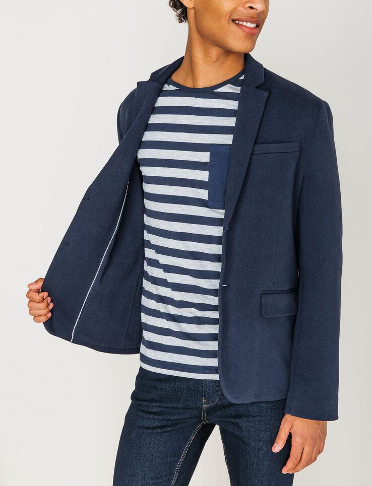 Veste maille coupe blazer homme bleu marine fonc bizzbee - Blazer bleu marine homme ...