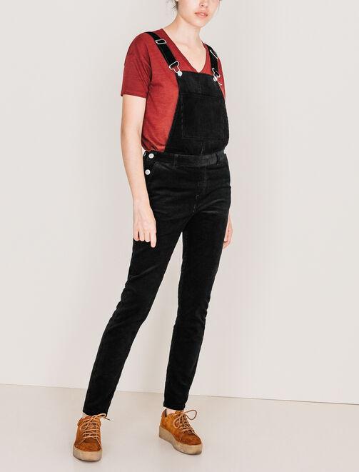 Salopette pantalon en velours côtelé femme
